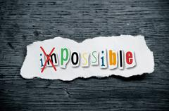 concept creative message  - impossible - stock photo