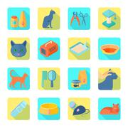 Flat icons cat set slant shadow Stock Illustration