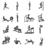 Stock Illustration of Gym Workout People Flat