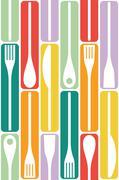 Cutlery Set Vector Seamles Stock Illustration