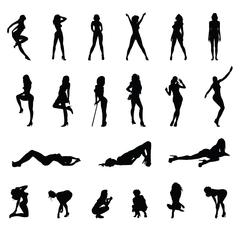 High Quality Women Silhouettes - stock illustration