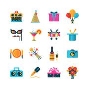 Party Color Icons Set Stock Illustration
