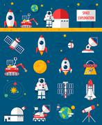 Space Cosmos Exploration Flat Icons Set - stock illustration