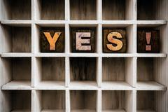 Yes Concept Wooden Letterpress Type in Drawer Stock Photos