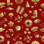 Gold asia culture icon seamless pattern chinese - stock illustration