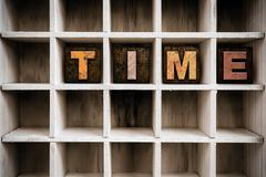 Time Concept Wooden Letterpress Type in Drawer - stock photo