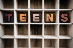 Teens Concept Wooden Letterpress Type in Drawer Stock Photos