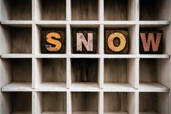 Snow Concept Wooden Letterpress Type in Drawer Stock Photos