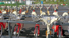 The bicycle parking area in the Expo exhibit in Italy - stock footage