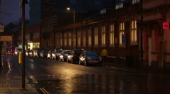 Cars parked in the rain, England, Europe Stock Footage