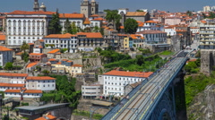 Beautiful view of the Douro River timelapse and the embankment of the historic Stock Footage