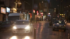 English traffic in the rain at night, Europe Stock Footage