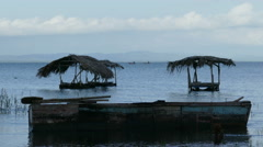 Wash houses in the lake of Ometepe Stock Footage