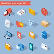 Isometric Mail Icons Stock Illustration