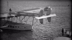 1935: Important people exiting Pan Am Sikorsky S-40 sesquiplane amphibious Stock Footage