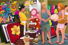 Tourist Buying Souvenir Stock Illustration