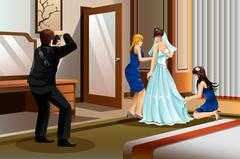 Photographer Taking Picture of a Bride Stock Illustration