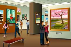 People Visiting an Art Gallery - stock illustration