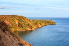 Sunrise at Au Sable Point Lighthouse in Autumn - Pictured Rocks, Michigan Stock Photos