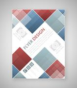 Geometric flyer template design with blue and red square elements. Cover layo - stock illustration
