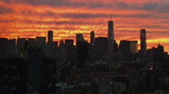 NYC Skyline at Sunset with Snow Falling and World Trade Center Stock Video - stock footage