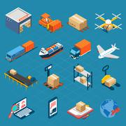 Isometric Logistic Icons - stock illustration