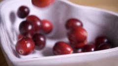 Fresh cranberries falling into bowl in slow motion - stock footage