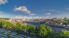 Porto, Portugal old town skyline on the Douro River timelapse hyperlapse Stock Footage