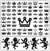 Set of crowns and lion rampant. Heraldry elements design collection. Stock Illustration