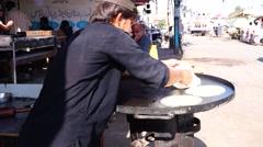 Making of chapatti breakfast market Stock Footage