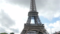 The famous Eiffel tower in Paris France Stock Footage
