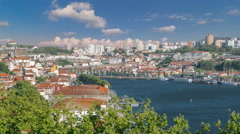 Porto, Portugal old town skyline on the Douro River timelapse Stock Footage