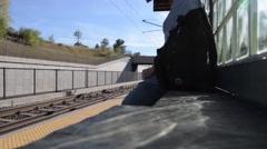 Man Boards Light Rail Stock Footage