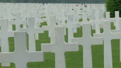 The white cross from Normandy American Cemetery Stock Footage