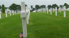 Side views of the white cross in the Normandy cemetery Stock Footage