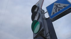 Ungraded: Traffic Light With Pedestrian Crossing Sign Changing Colors Stock Footage