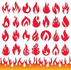 Set of Flame icons. Fire symbols. Vector illustration. - stock illustration