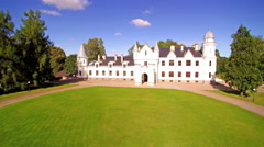 Aerial shot of the green yard of the Alatskivi castle Stock Footage