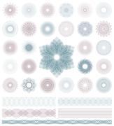 Set of Guilloche decorative elements. Vector illustration. Stock Illustration