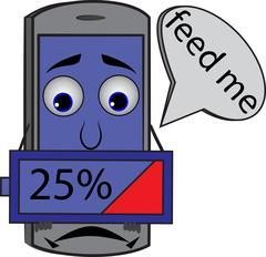 Sad cartoon cellphone holding battery 25% Stock Illustration