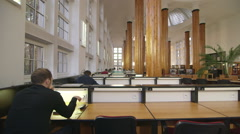 Warsaw School of Economics library Stock Footage