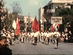 Israelis marching in Parade (Vintage 1950's) Stock Footage