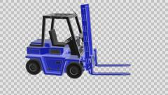 Loop rotate forklift truck with alpha Stock Footage