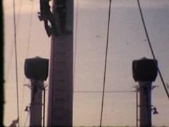Stock Video Footage of Climbing Mast (Vintage 1950's)