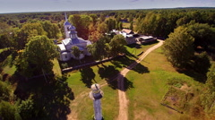 Aerial view of the Lake Peipsi and the church on the cliff Stock Footage