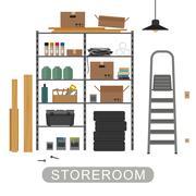 Storeroom interior on white background. Piirros
