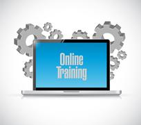 Online training computer text sign Stock Illustration