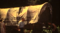 Covered wagon at the pioneer park - stock footage