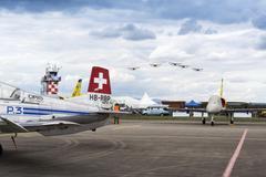 HRADEC KRALOVE, CZECH REPUBLIC - SEPTEMBER 5: Swiss Pilatus Warbird aerobatic Stock Photos