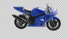 Loop rotate sportbike with alpha Stock Footage